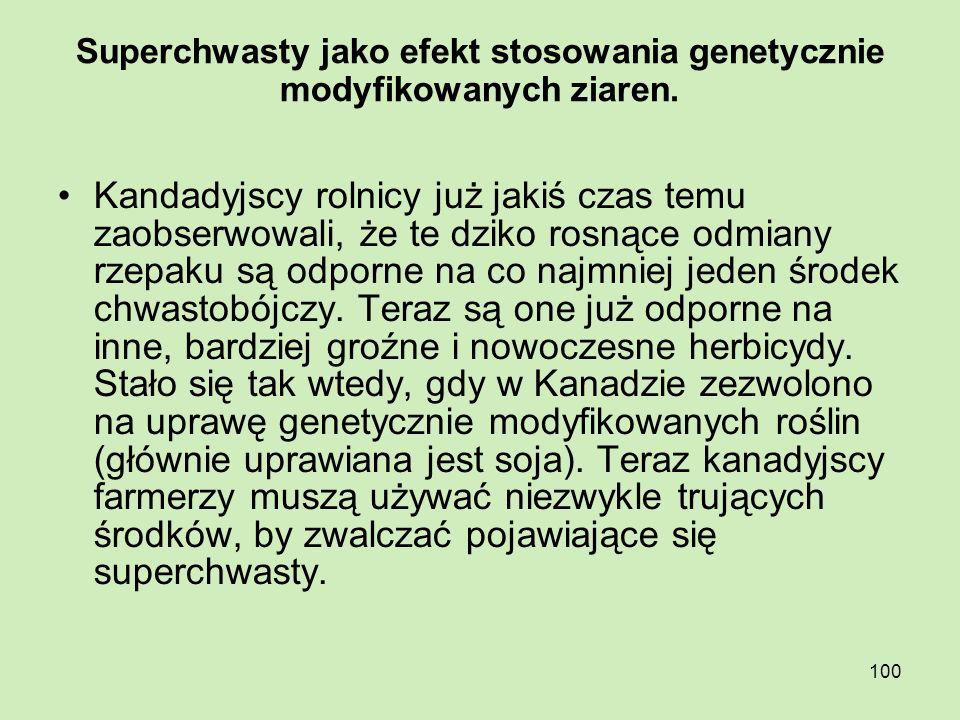 Superchwasty jako efekt stosowania genetycznie modyfikowanych ziaren.