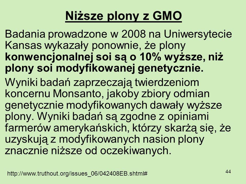 Niższe plony z GMO