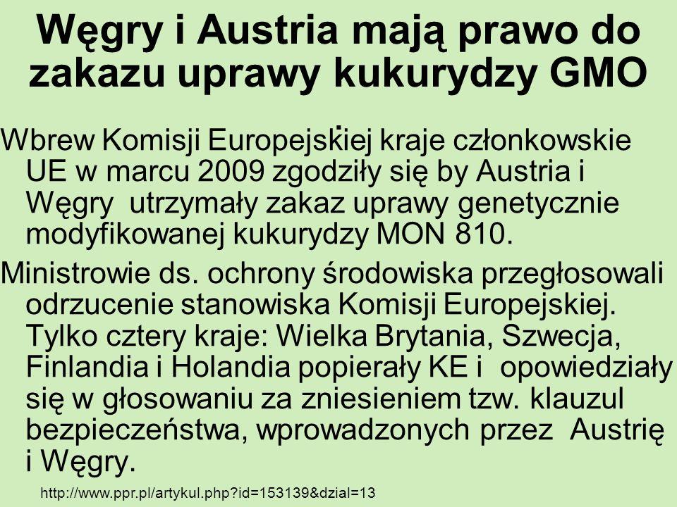 Węgry i Austria mają prawo do zakazu uprawy kukurydzy GMO .