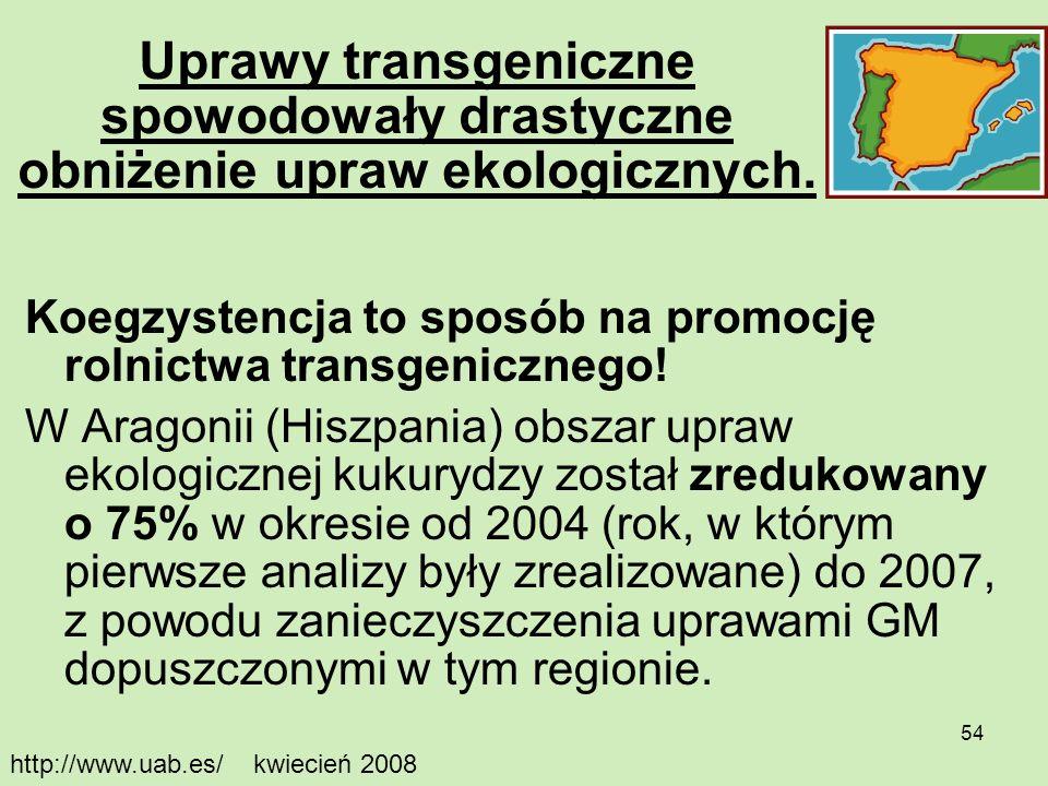Uprawy transgeniczne spowodowały drastyczne obniżenie upraw ekologicznych.
