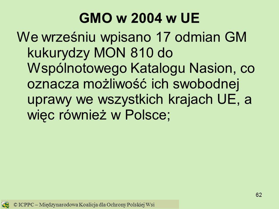 GMO w 2004 w UE
