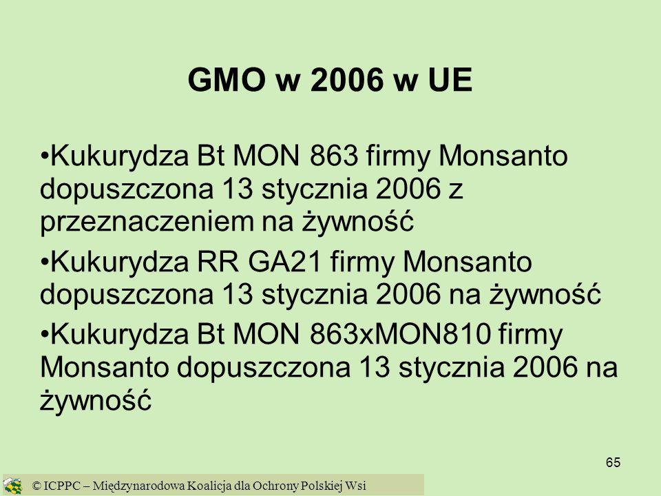 GMO w 2006 w UE Kukurydza Bt MON 863 firmy Monsanto dopuszczona 13 stycznia 2006 z przeznaczeniem na żywność.