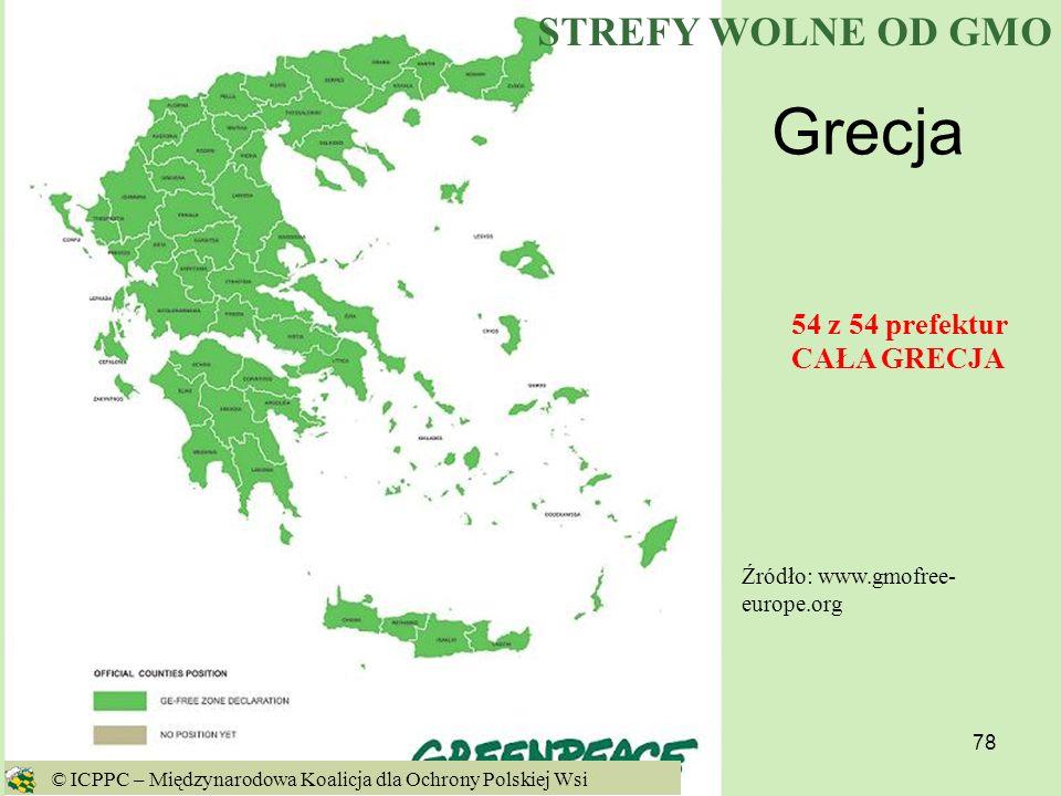 Grecja STREFY WOLNE OD GMO 54 z 54 prefektur CAŁA GRECJA