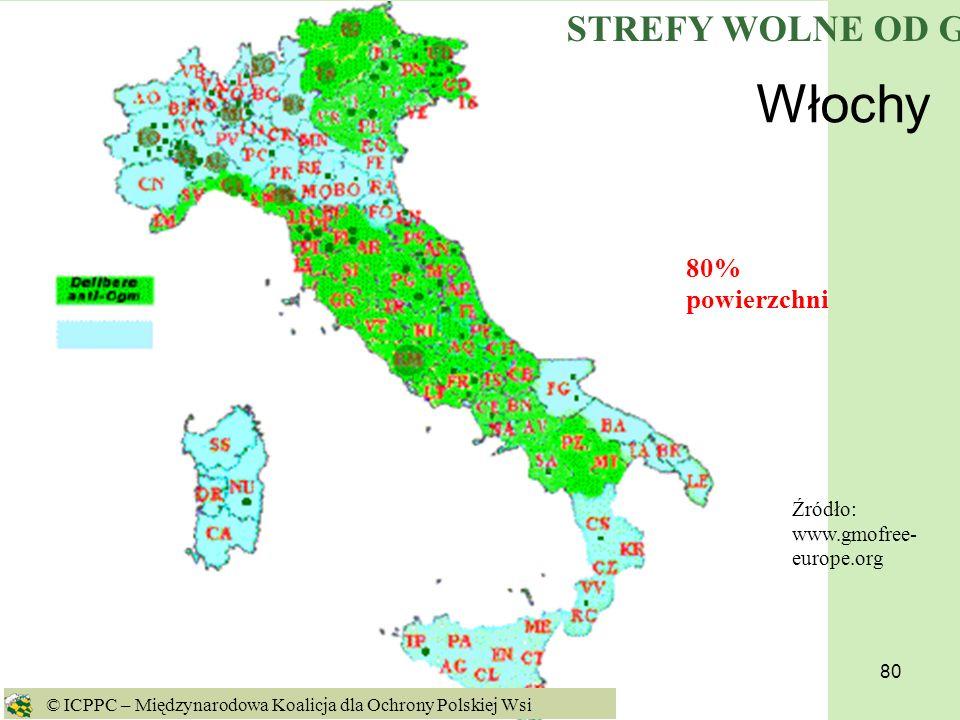 Włochy STREFY WOLNE OD GMO 80% powierzchni
