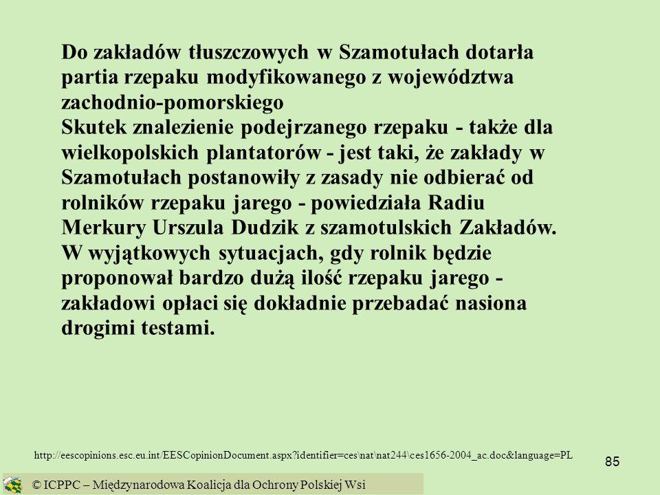 Do zakładów tłuszczowych w Szamotułach dotarła partia rzepaku modyfikowanego z województwa zachodnio-pomorskiego