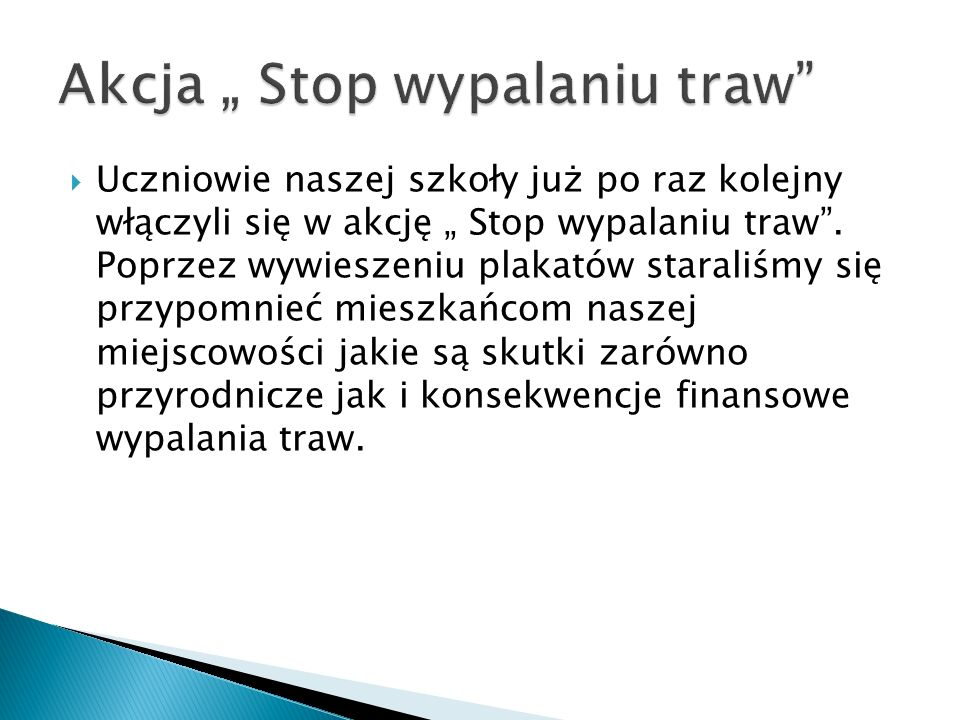 """Akcja """" Stop wypalaniu traw"""