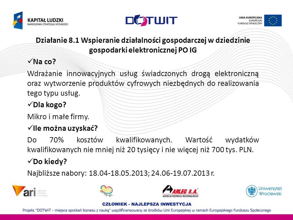 Działanie 8.1 Wspieranie działalności gospodarczej w dziedzinie gospodarki elektronicznej PO IG