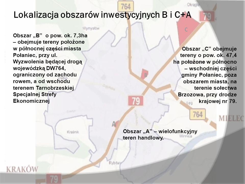 Lokalizacja obszarów inwestycyjnych B i C+A