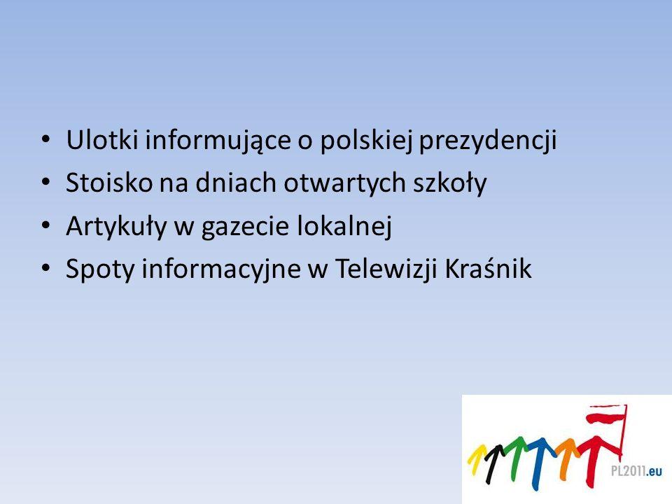 Ulotki informujące o polskiej prezydencji