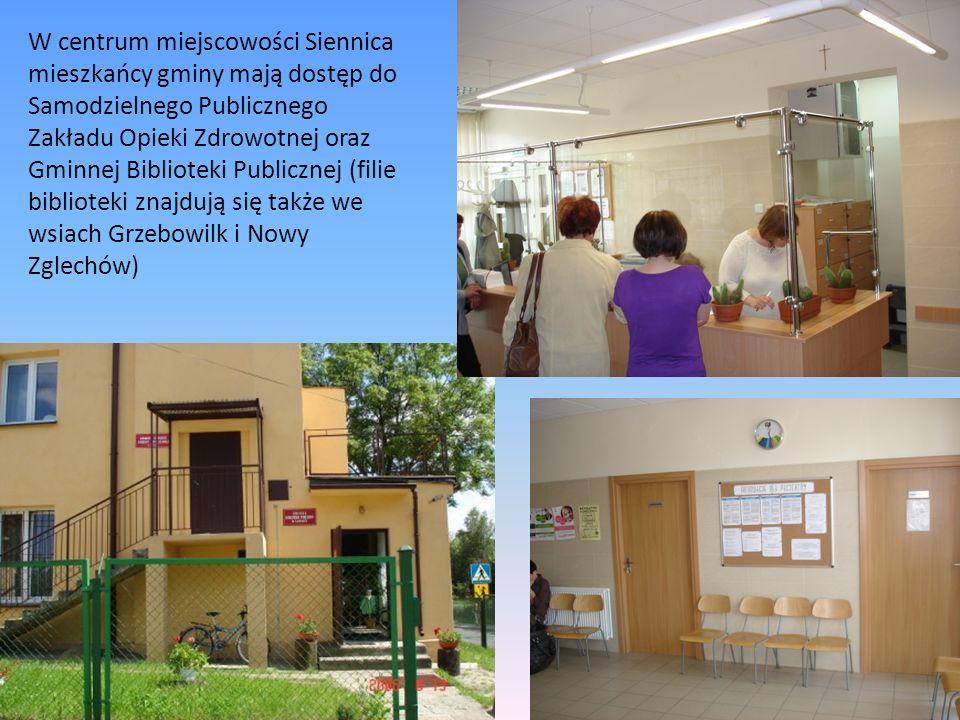 W centrum miejscowości Siennica mieszkańcy gminy mają dostęp do Samodzielnego Publicznego Zakładu Opieki Zdrowotnej oraz Gminnej Biblioteki Publicznej (filie biblioteki znajdują się także we wsiach Grzebowilk i Nowy Zglechów)