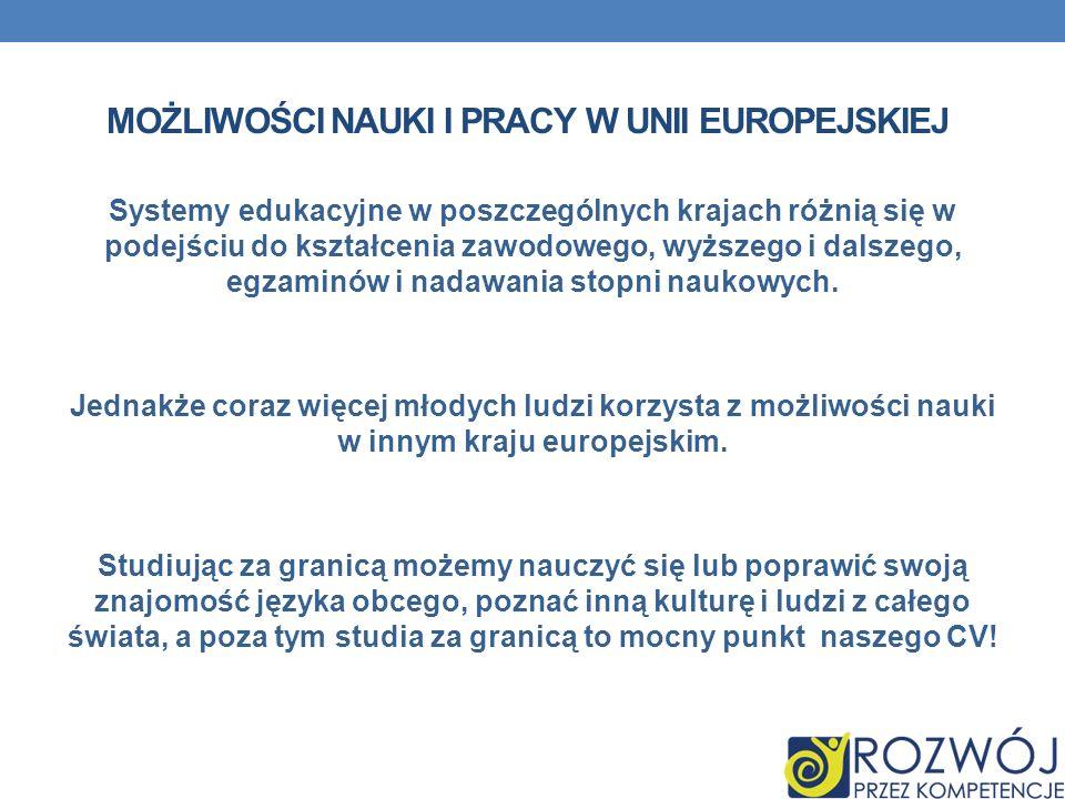 możliwości nauki i pracy w Unii Europejskiej