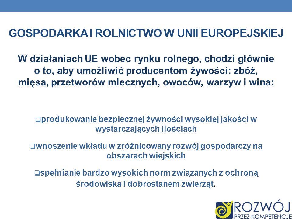 gospodarka i rolnictwo w Unii Europejskiej