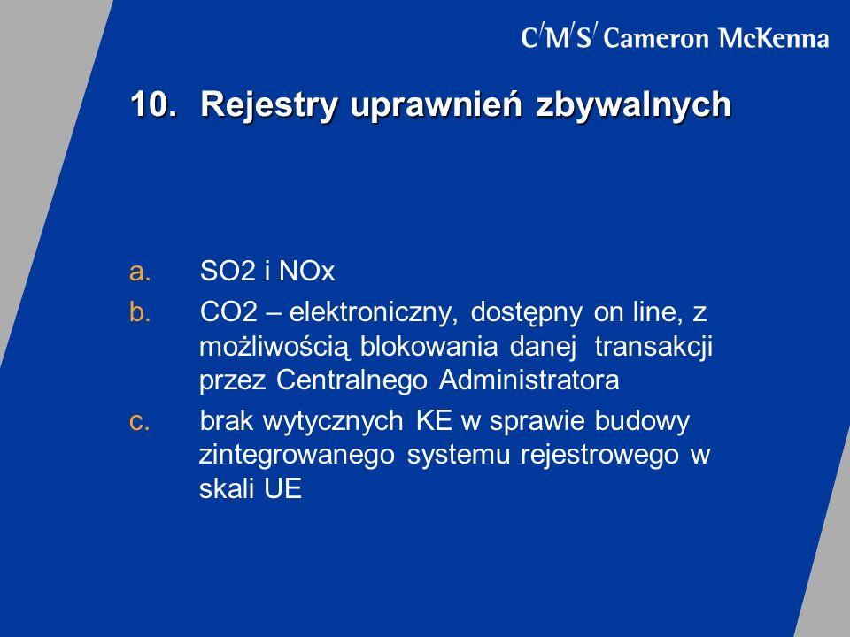 10. Rejestry uprawnień zbywalnych