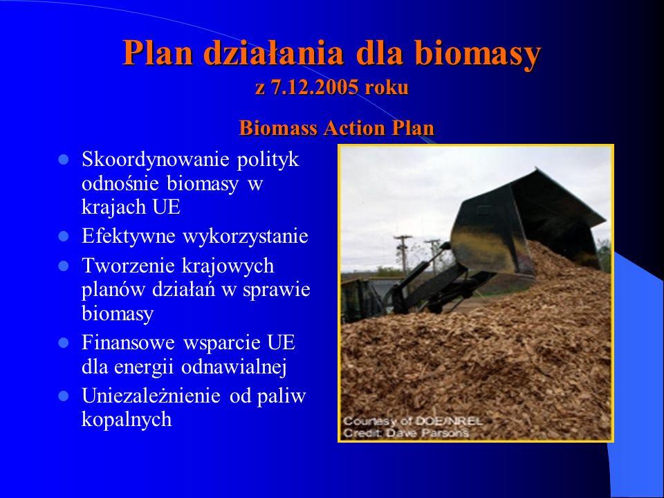 Plan działania dla biomasy z 7.12.2005 roku Biomass Action Plan