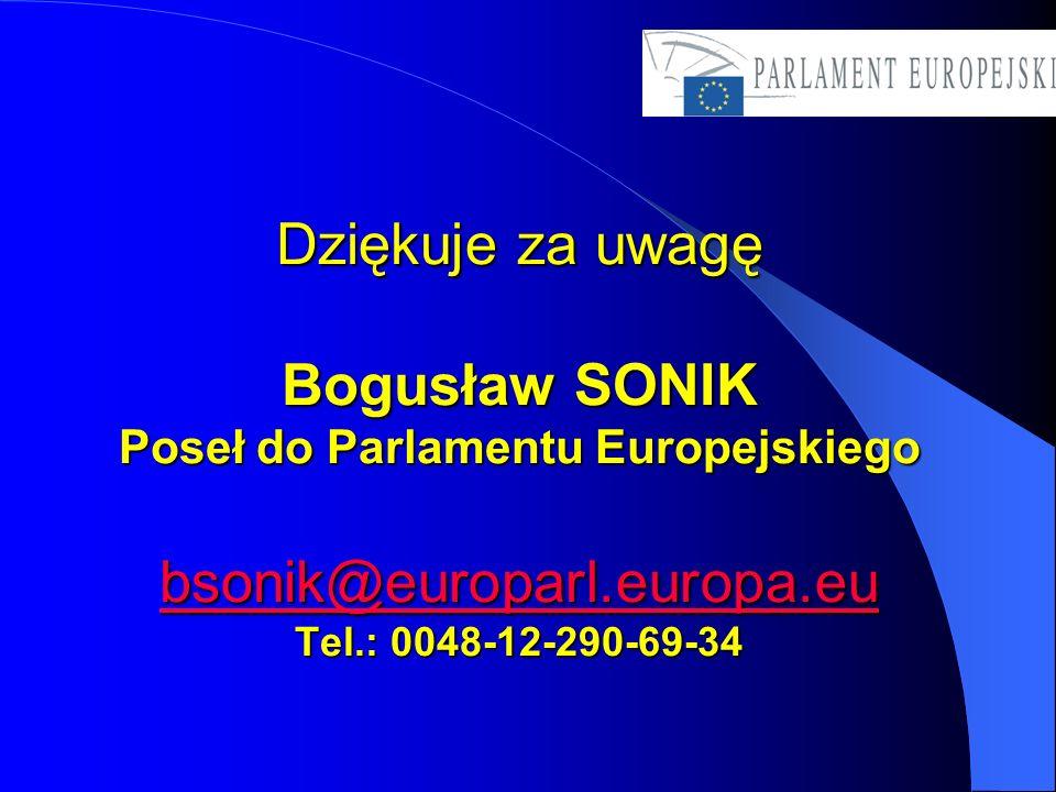 Dziękuje za uwagę Bogusław SONIK Poseł do Parlamentu Europejskiego bsonik@europarl.europa.eu Tel.: 0048-12-290-69-34