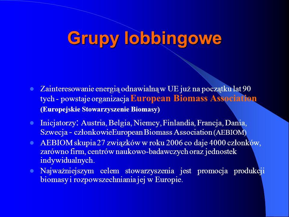 Grupy lobbingowe Zainteresowanie energią odnawialną w UE już na początku lat 90 tych - powstaje organizacja European Biomass Association.