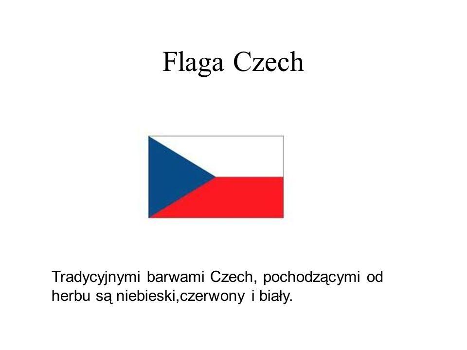 Flaga Czech Tradycyjnymi barwami Czech, pochodzącymi od herbu są niebieski,czerwony i biały.
