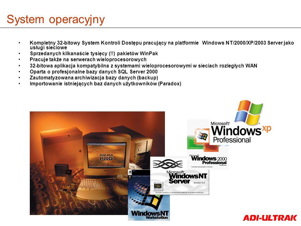 System operacyjny Kompletny 32-bitowy System Kontroli Dostępu pracujący na platformie Windows NT/2000/XP/2003 Server jako usługi sieciowe.