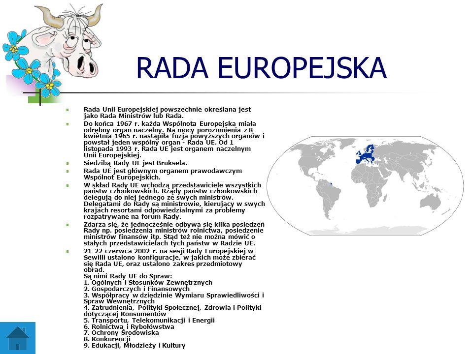 RADA EUROPEJSKA Rada Unii Europejskiej powszechnie określana jest jako Rada Ministrów lub Rada.