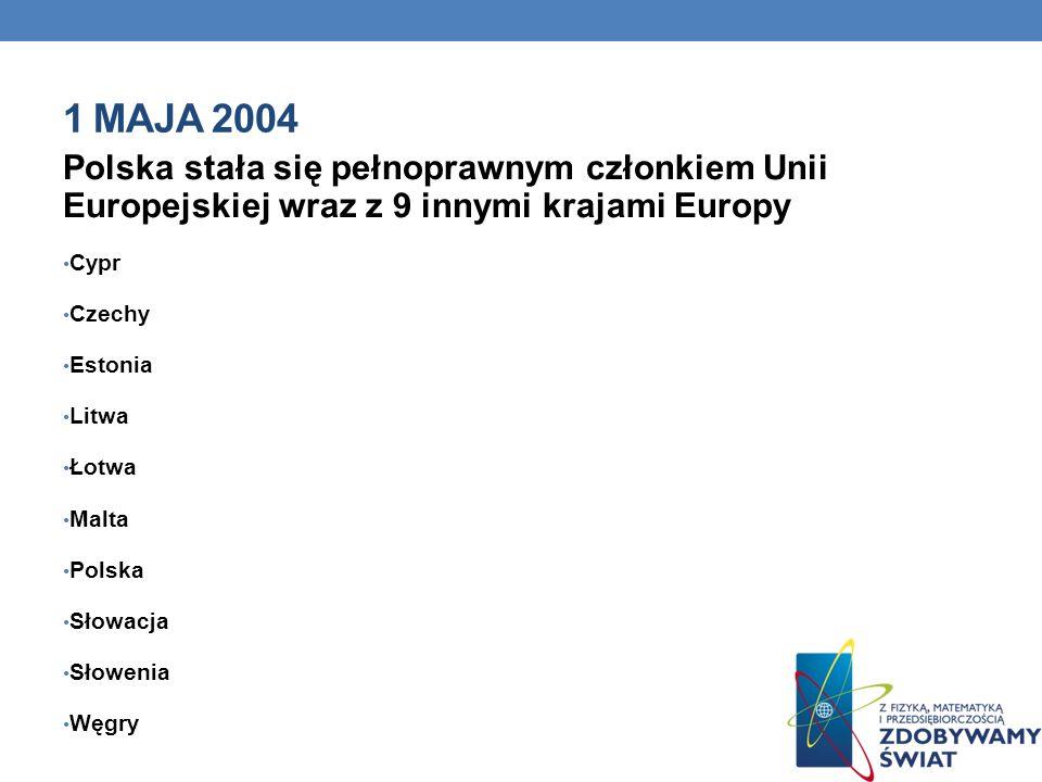 1 maja 2004 Polska stała się pełnoprawnym członkiem Unii Europejskiej wraz z 9 innymi krajami Europy.