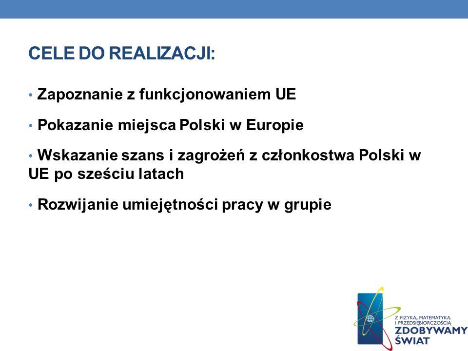 Cele do realizacji: Zapoznanie z funkcjonowaniem UE