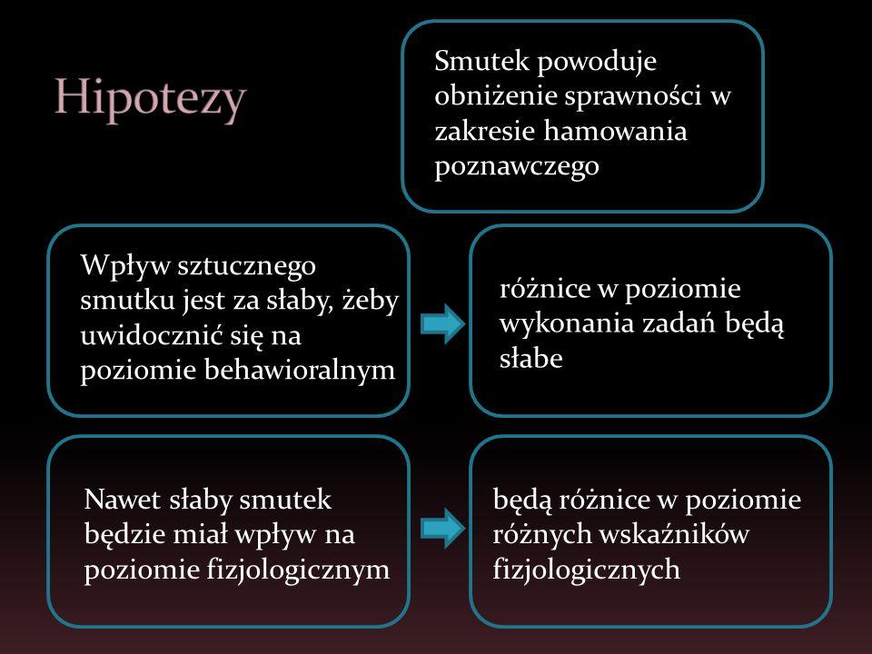 HipotezySmutek powoduje obniżenie sprawności w zakresie hamowania poznawczego.
