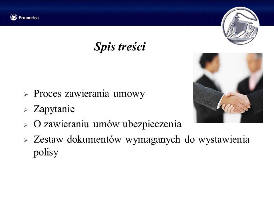 Spis treści Proces zawierania umowy Zapytanie