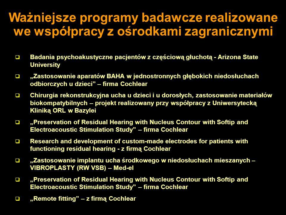 Ważniejsze programy badawcze realizowane we współpracy z ośrodkami zagranicznymi
