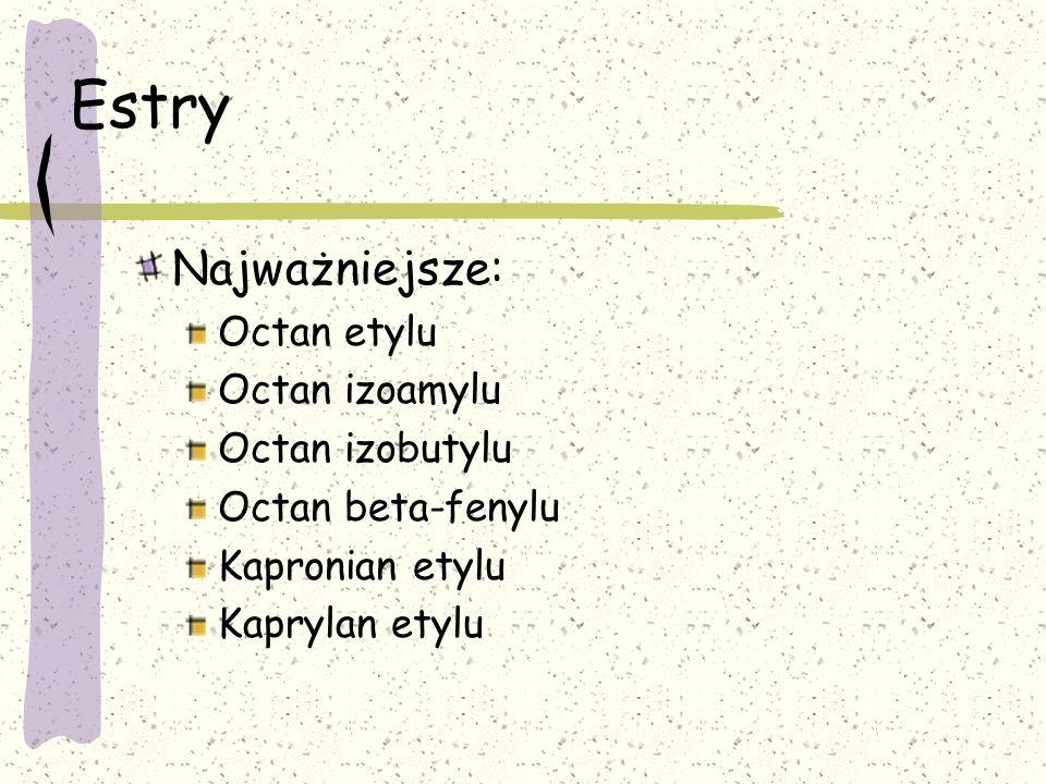Estry Najważniejsze: Octan etylu Octan izoamylu Octan izobutylu