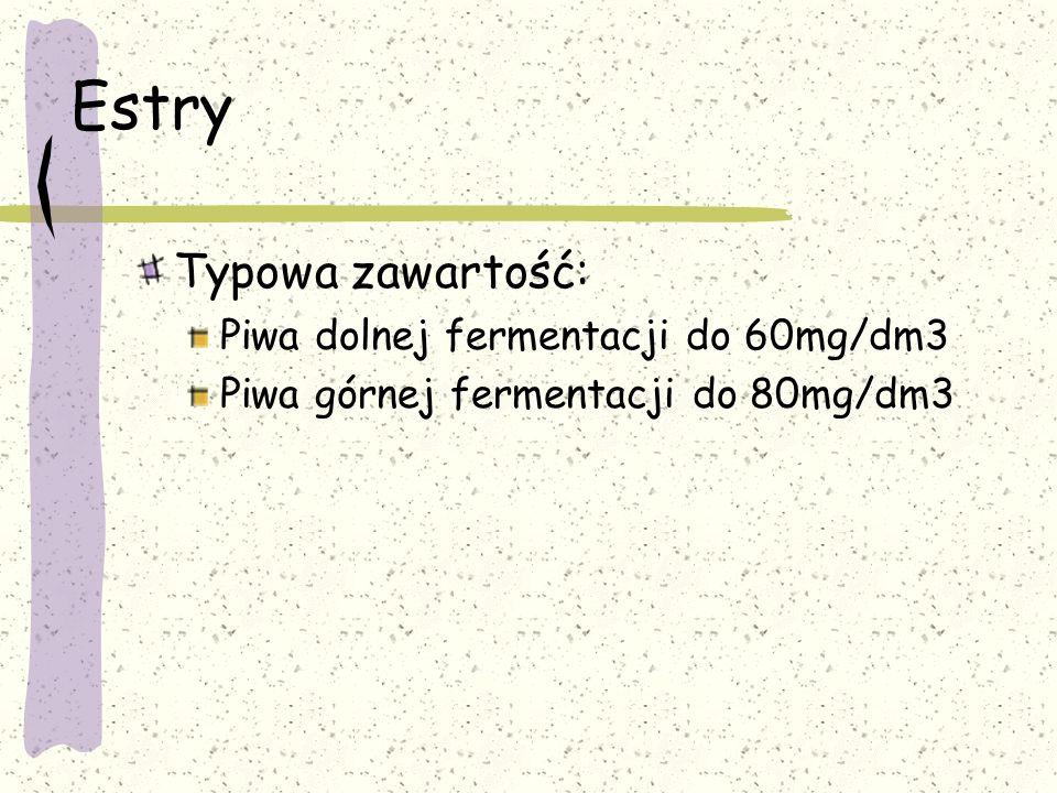 Estry Typowa zawartość: Piwa dolnej fermentacji do 60mg/dm3