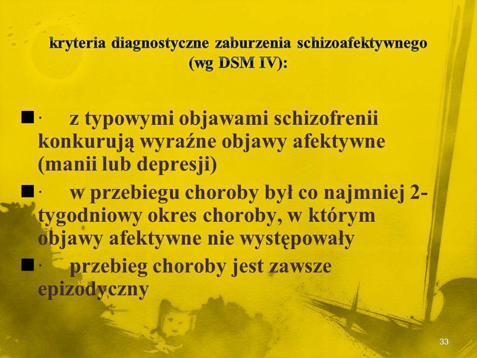 kryteria diagnostyczne zaburzenia schizoafektywnego (wg DSM IV):