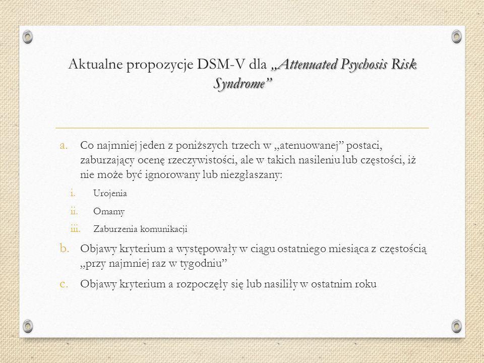 "Aktualne propozycje DSM-V dla ""Attenuated Psychosis Risk Syndrome"