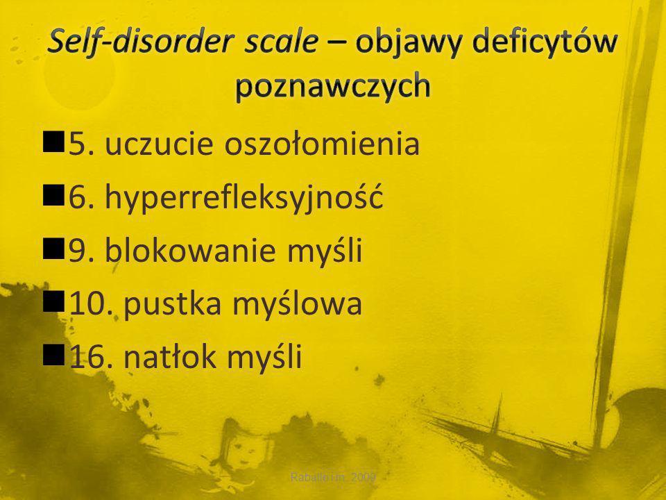 Self-disorder scale – objawy deficytów poznawczych