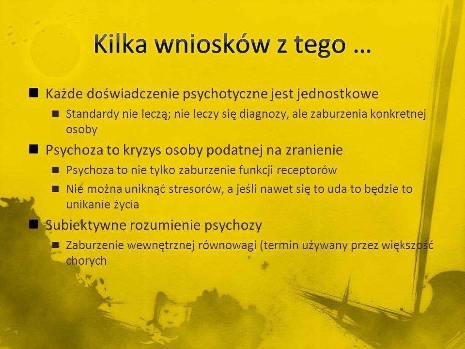Kilka wniosków z tego … Każde doświadczenie psychotyczne jest jednostkowe.