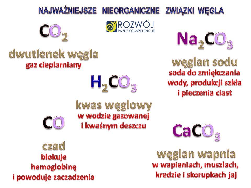 CO2 Na2CO3 dwutlenek węgla węglan sodu H2CO3 kwas węglowy CO CaCO3