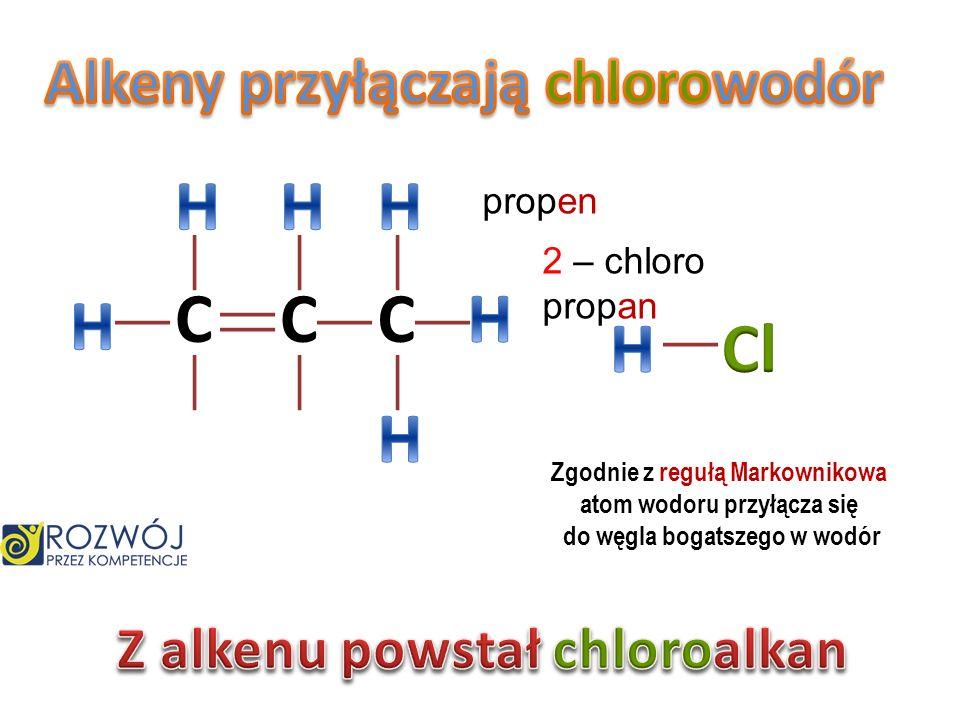 H H H C C C H H H Cl H Alkeny przyłączają chlorowodór