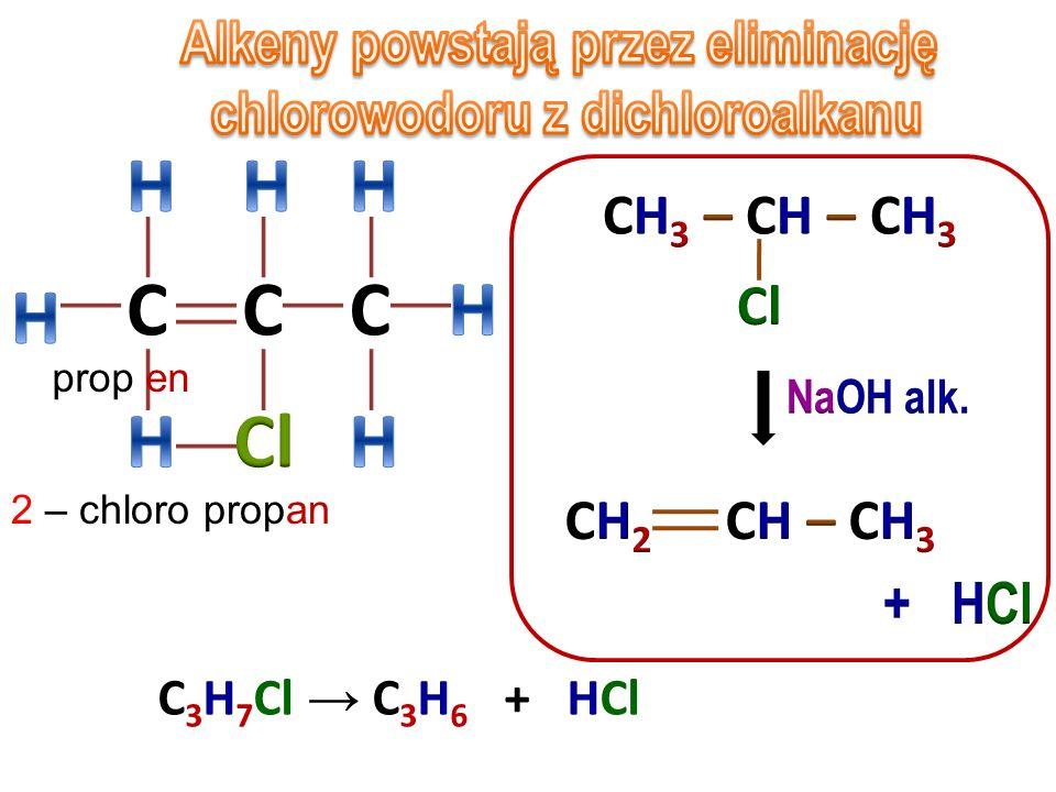 Alkeny powstają przez eliminację chlorowodoru z dichloroalkanu