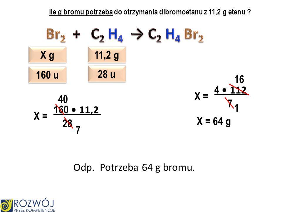 Ile g bromu potrzeba do otrzymania dibromoetanu z 11,2 g etenu