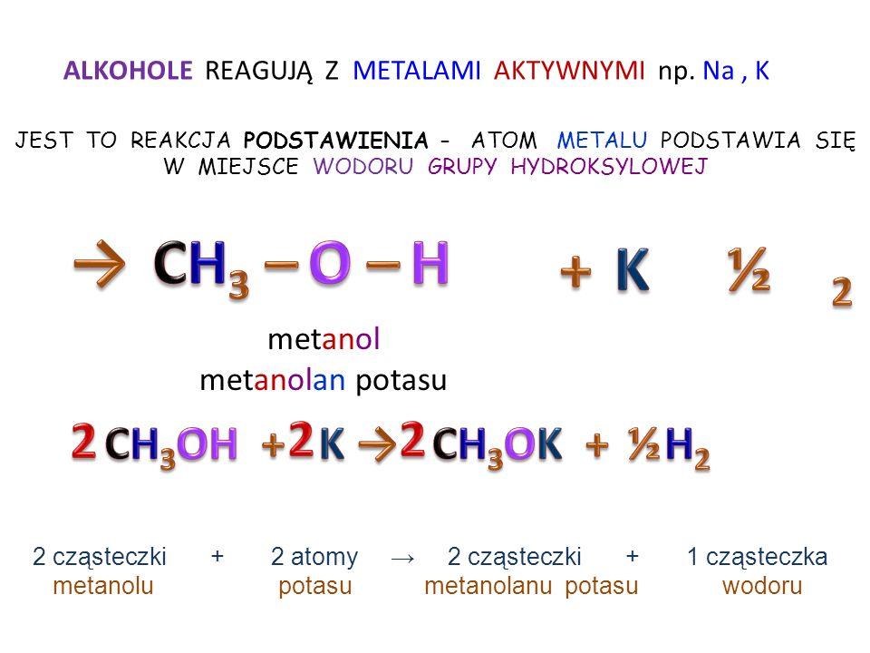 → CH3 – O – H + K ½ 2 2 2 2 CH3OH + K → CH3OK + H2 ½ metanol