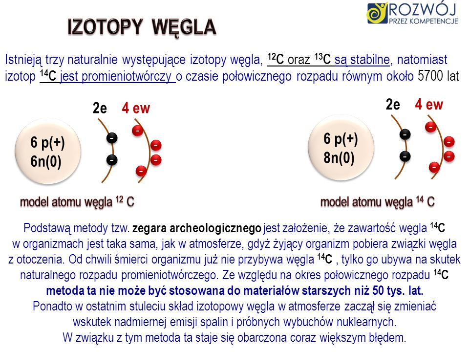 IZOTOPY WĘGLA 2e 4 ew 2e 4 ew 6 p(+) 8n(0) 6 p(+) 6n(0)