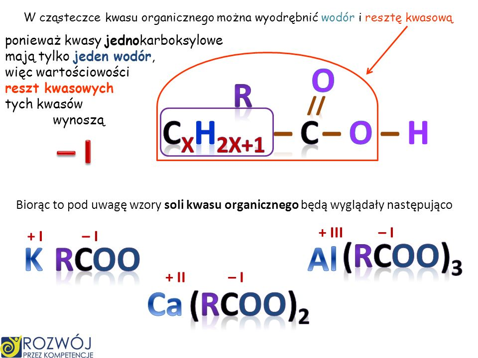 O R CxH2X+1 – C – O – H – I (RCOO)3 K RCOO Al Ca (RCOO)2