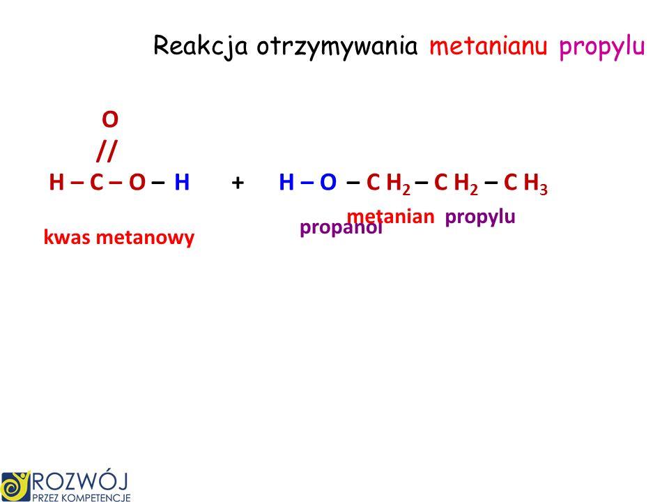 Reakcja otrzymywania metanianu propylu