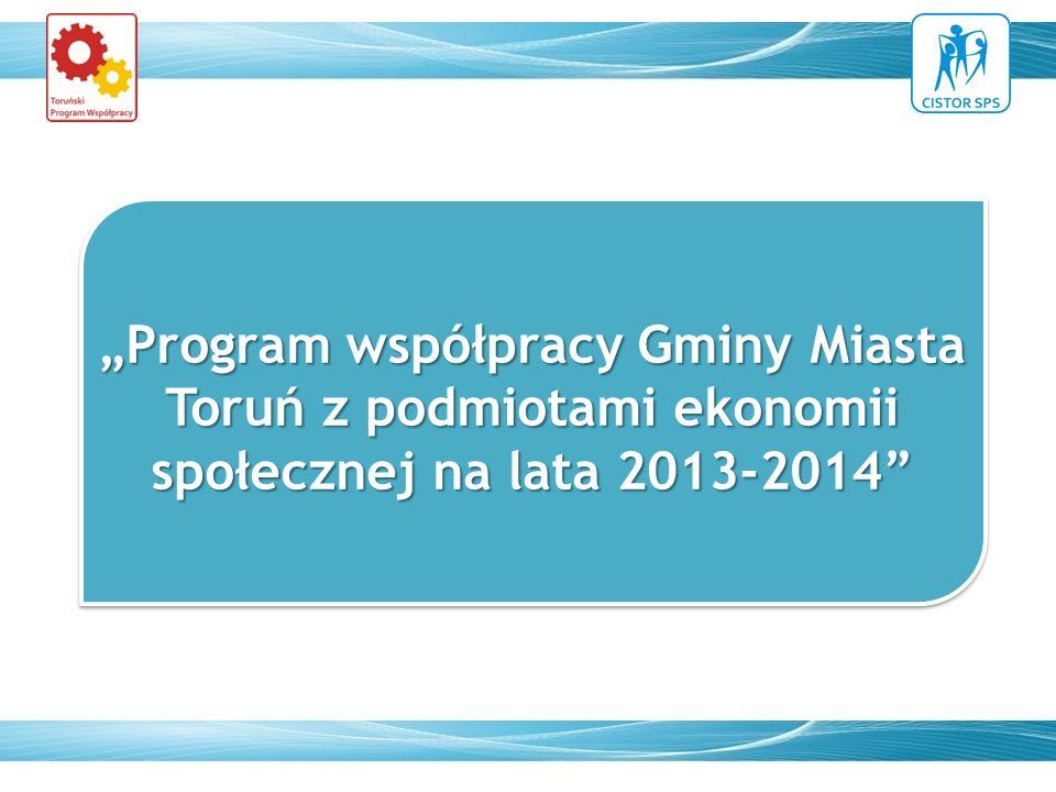 """""""Program współpracy Gminy Miasta Toruń z podmiotami ekonomii społecznej na lata 2013-2014"""