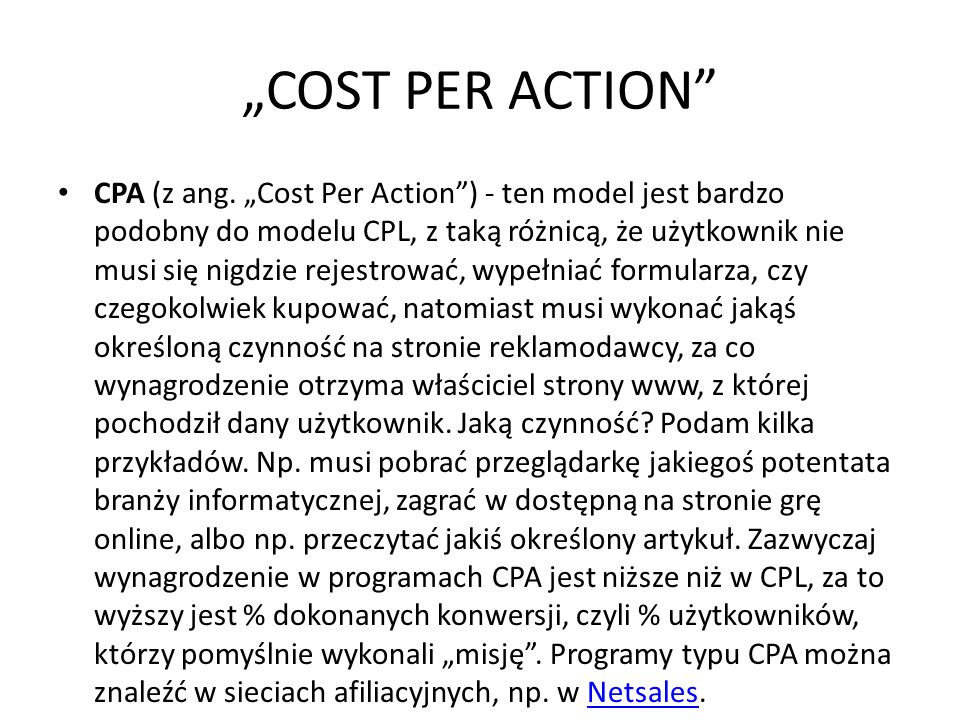 """COST PER ACTION"