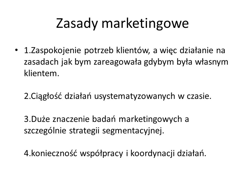 Zasady marketingowe