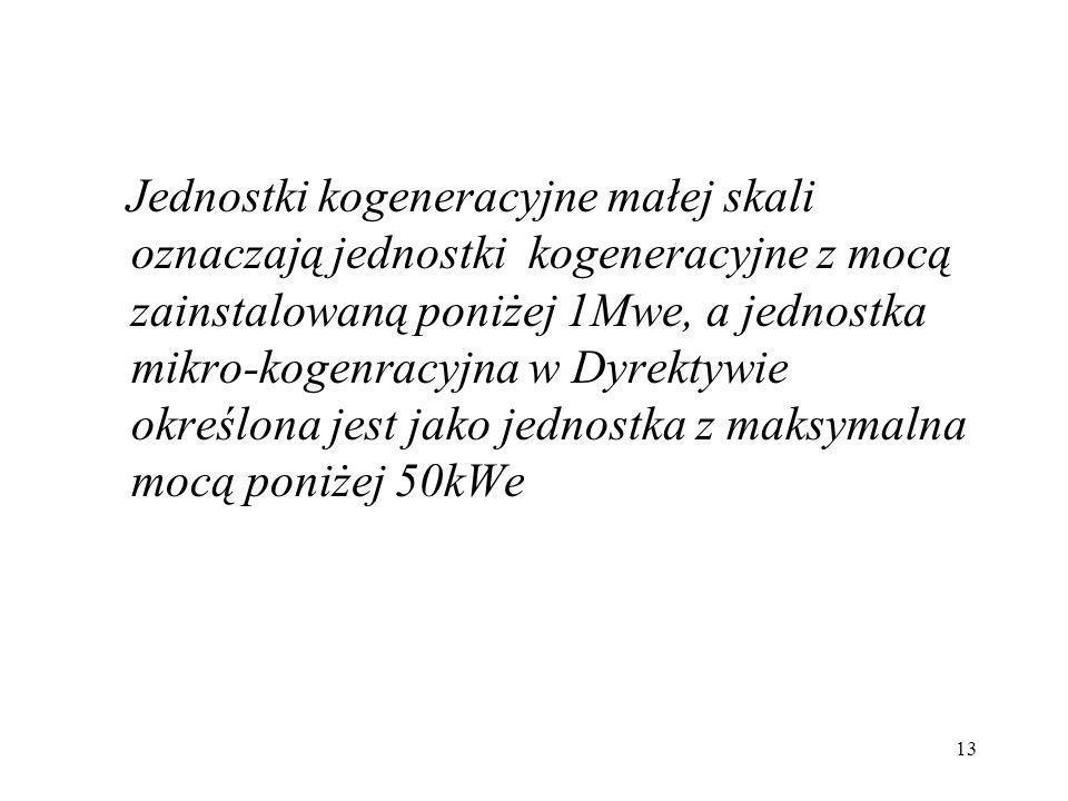 Jednostki kogeneracyjne małej skali oznaczają jednostki kogeneracyjne z mocą zainstalowaną poniżej 1Mwe, a jednostka mikro-kogenracyjna w Dyrektywie określona jest jako jednostka z maksymalna mocą poniżej 50kWe