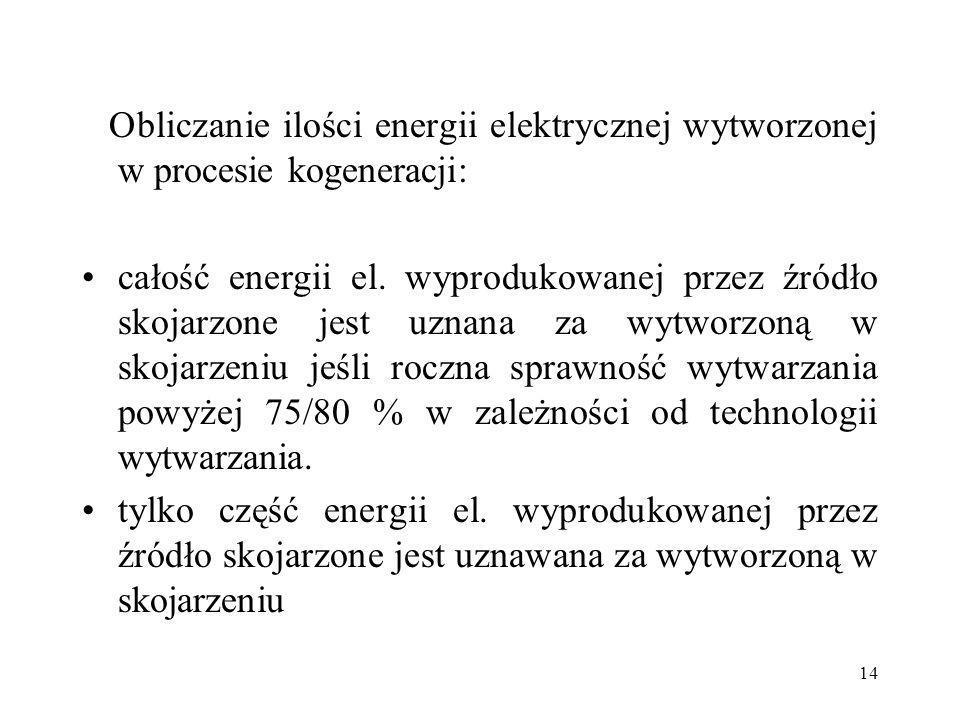 Obliczanie ilości energii elektrycznej wytworzonej w procesie kogeneracji: