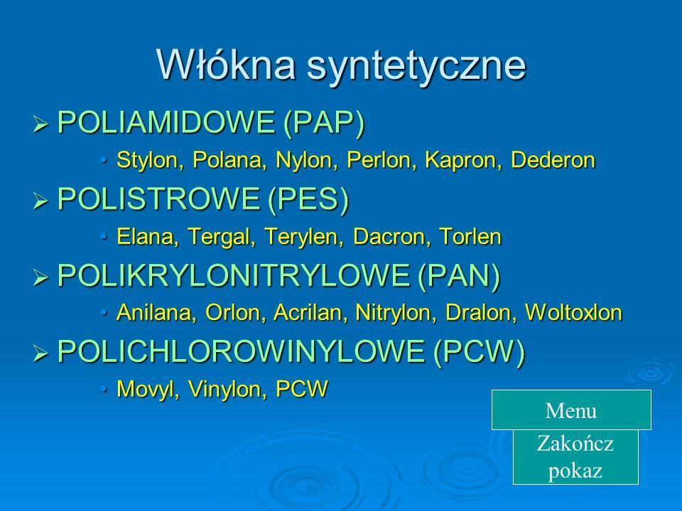 Włókna syntetyczne POLIAMIDOWE (PAP) POLISTROWE (PES)