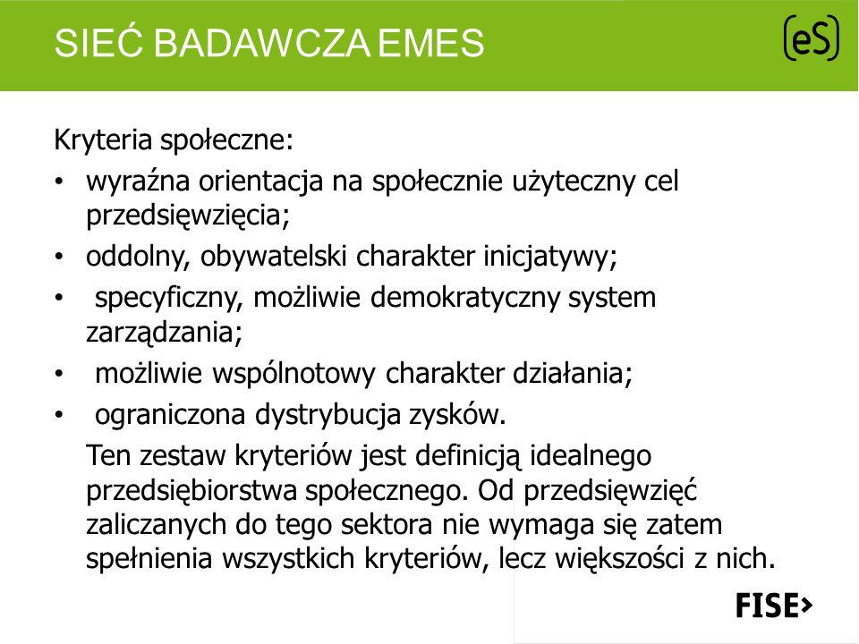 Sieć badawcza EMES Kryteria społeczne: