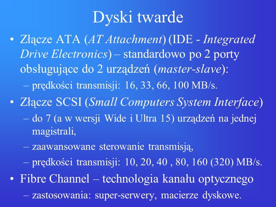 Dyski twarde Złącze ATA (AT Attachment) (IDE - Integrated Drive Electronics) – standardowo po 2 porty obsługujące do 2 urządzeń (master-slave):